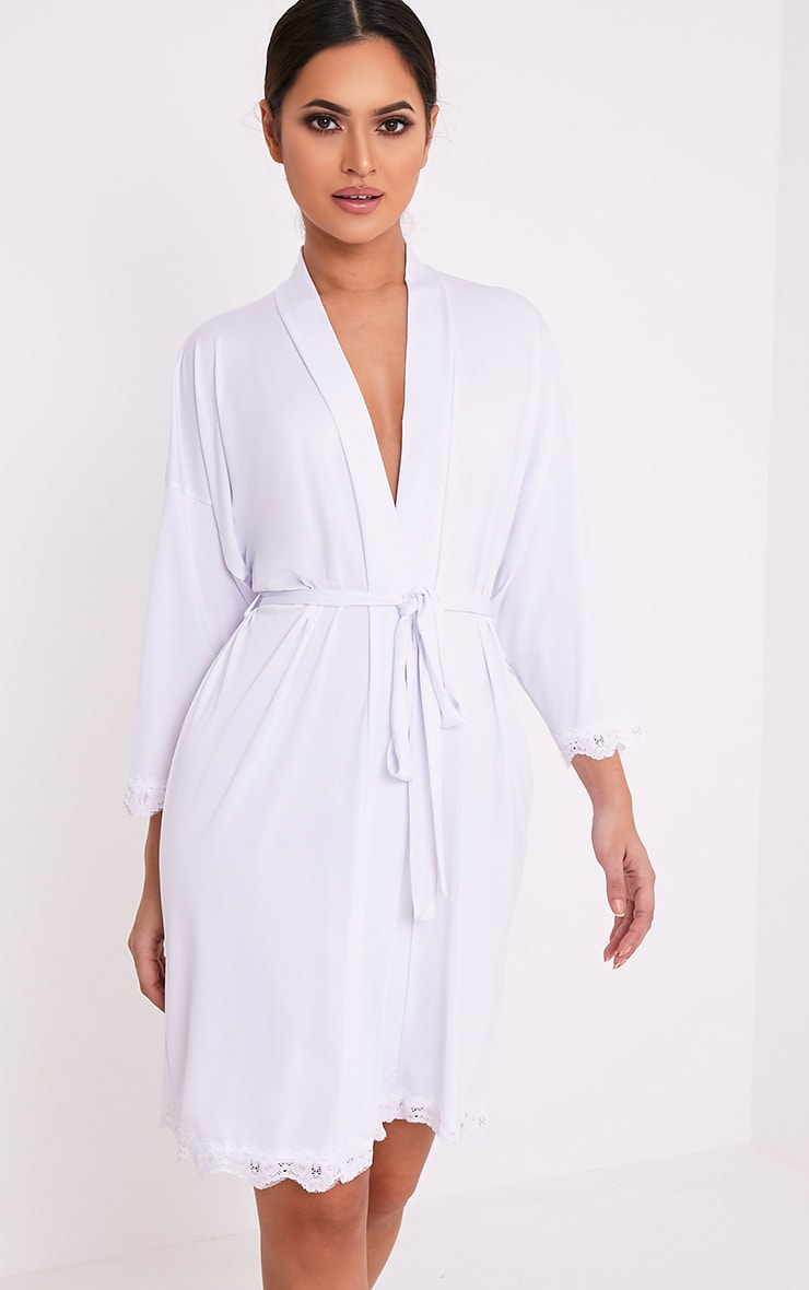Bride White Slinky Dressing Gown 4