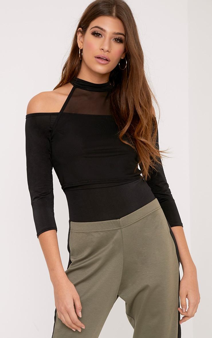 Veronica Black Slinky Mesh Bardot Bodysuit 1