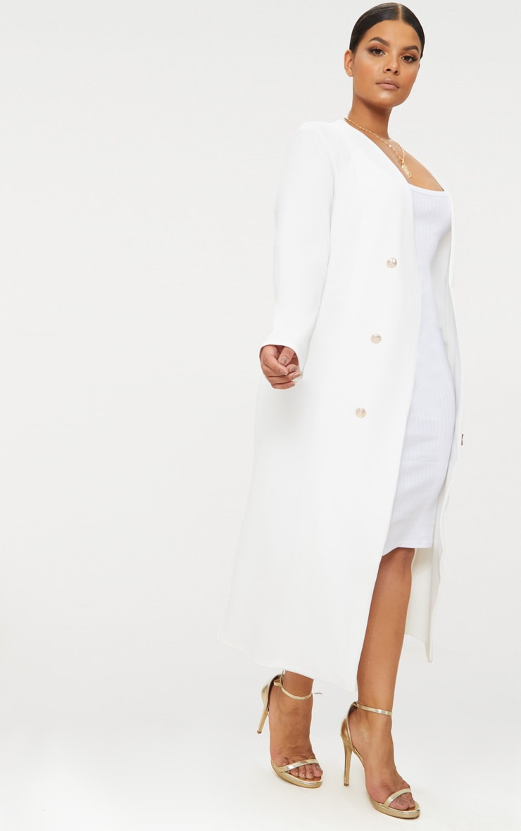 Plus White Military Button Detail Duster Coat 4