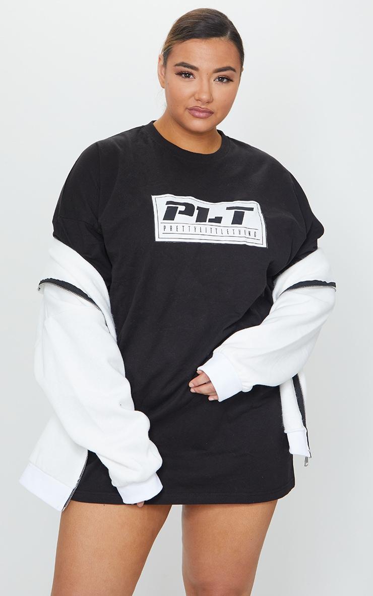 PRETTYLITTLETHING Plus Black Tshirt Dress 1