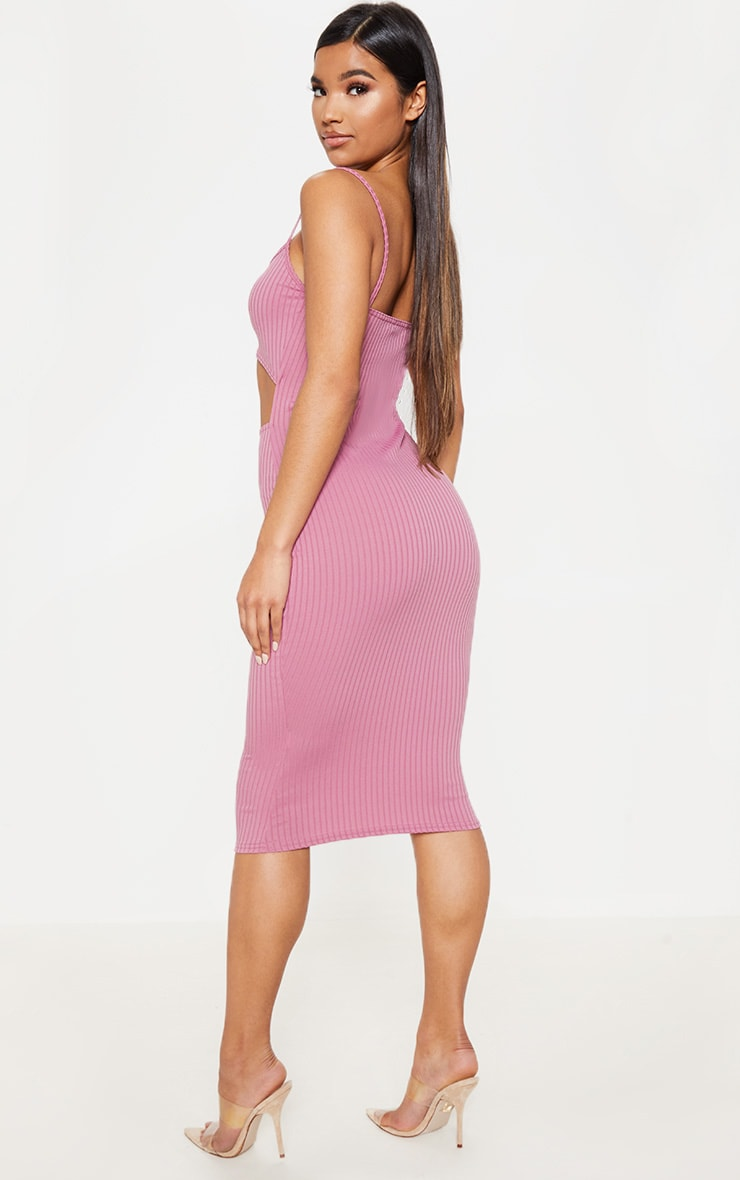 Rose Ribbed Cut Out Strappy Midi Dress 2