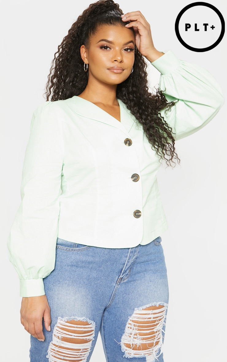 plus mint green woven button front puff sleeve top