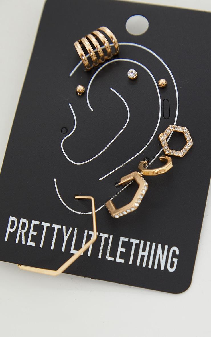 Gold Assorted Stud And Hoop Pack Earrings 1