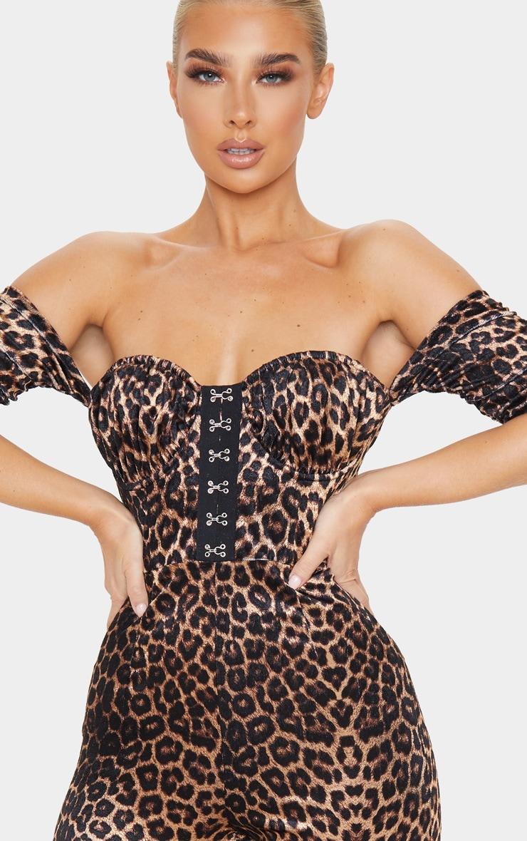 Tan Leopard Velvet Hook And Eye Detail Bardot Jumpsuit 4