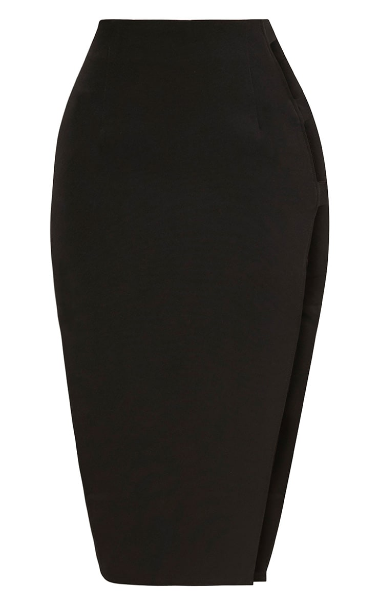 Elyza Black Buckle Side Midi Skirt 3
