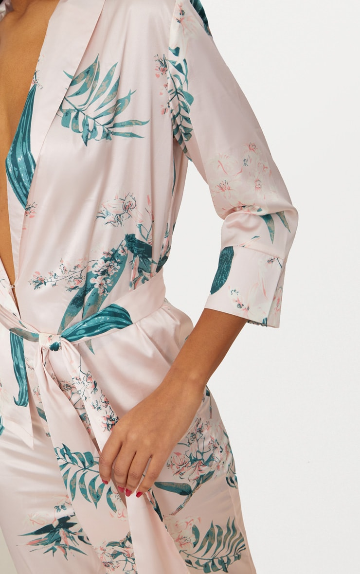 Blush Satin Floral Printed Long Sleeve Belted Blouse 5