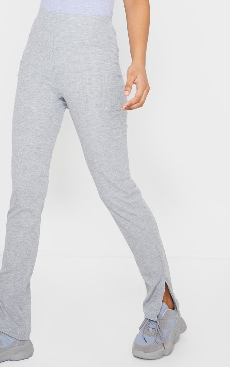 Pantalon skinny côtelé gris chiné à fentes 4