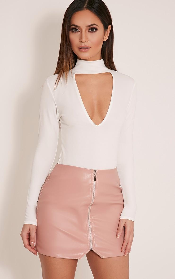 Skylee Cream Cut Out Neck Thong Bodysuit 1