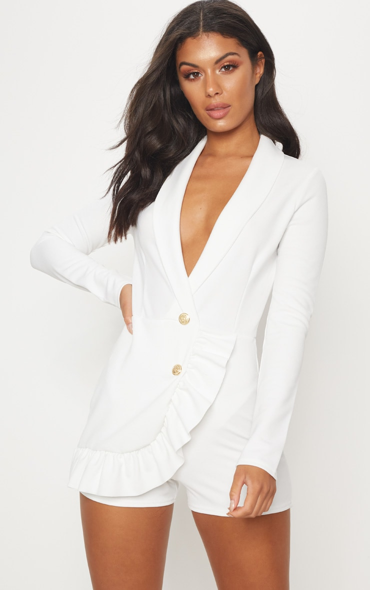 White Frill Long Sleeve Tux Romper 1