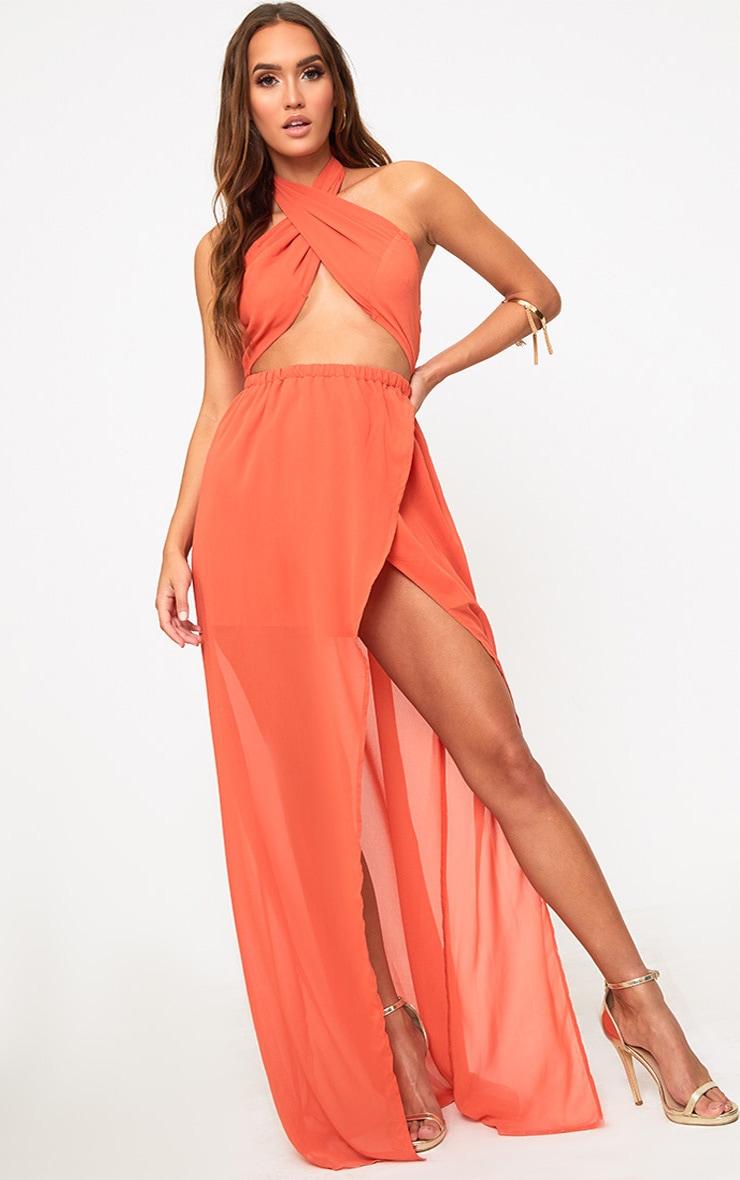 Orange Halterneck Maxi Dress 1