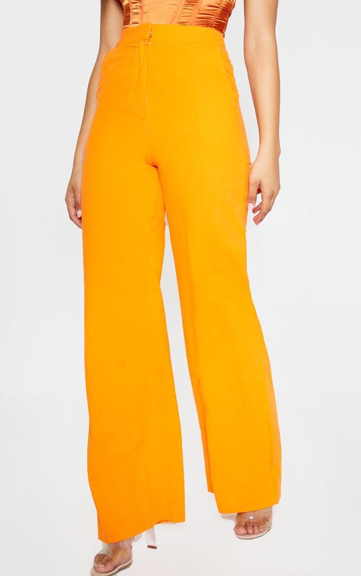 Tall Orange Wide Leg High Waist Pants 2