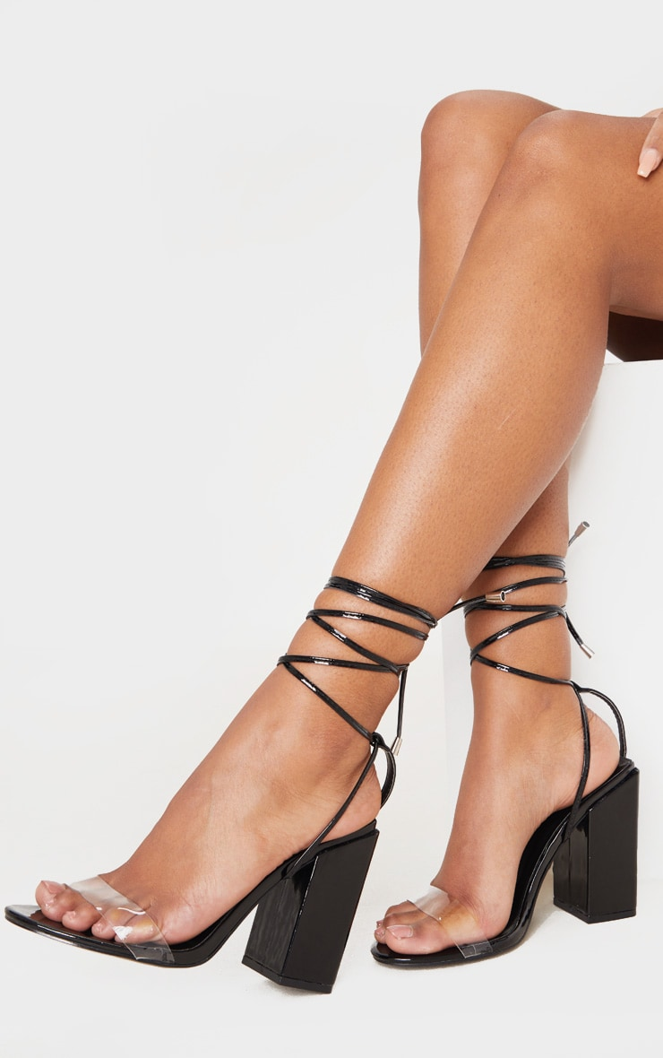 Black Wide Fit Block Heel Ankle Tie Strappy Sandal 1