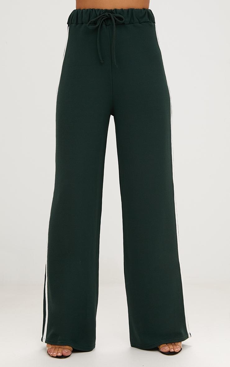 Emerald Green Wide Leg Contrast Stripe Track Pants  2