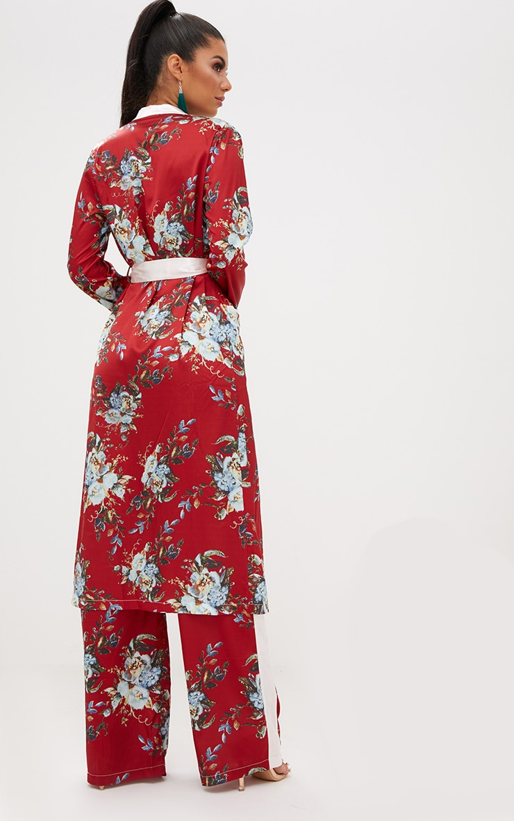 Red Floral Satin Duster Jacket  3