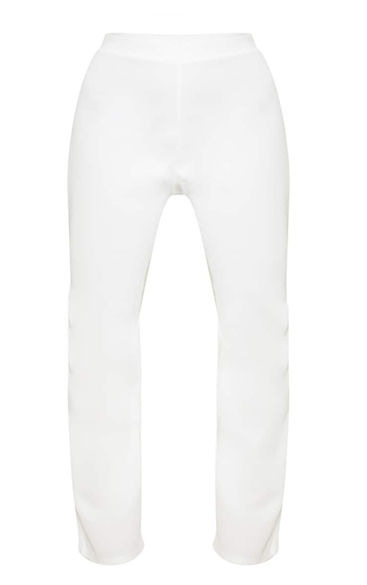 Plus White High Waisted Flare Pants 3