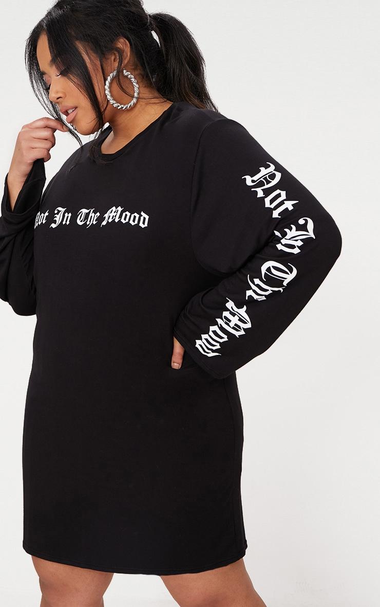 Plus  Black Oversized Slogan T-Shirt Dress 1