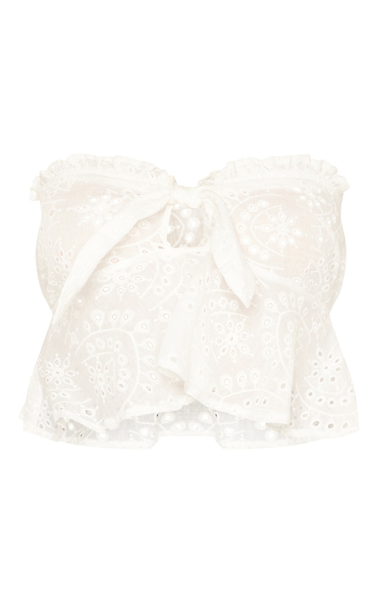 White Broderie Anglaise Bardot Tie Front Crop Top 3