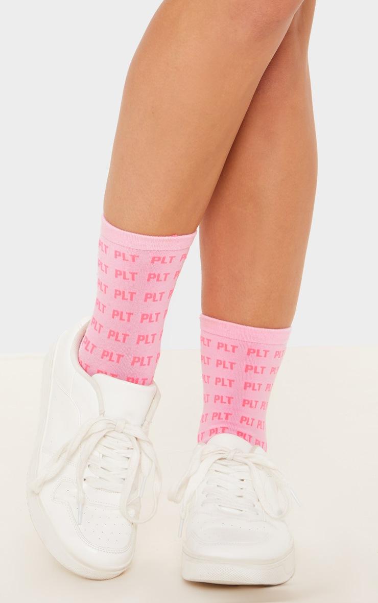 PRETTYLITTLETHING Pink Mono Ankle Socks 2