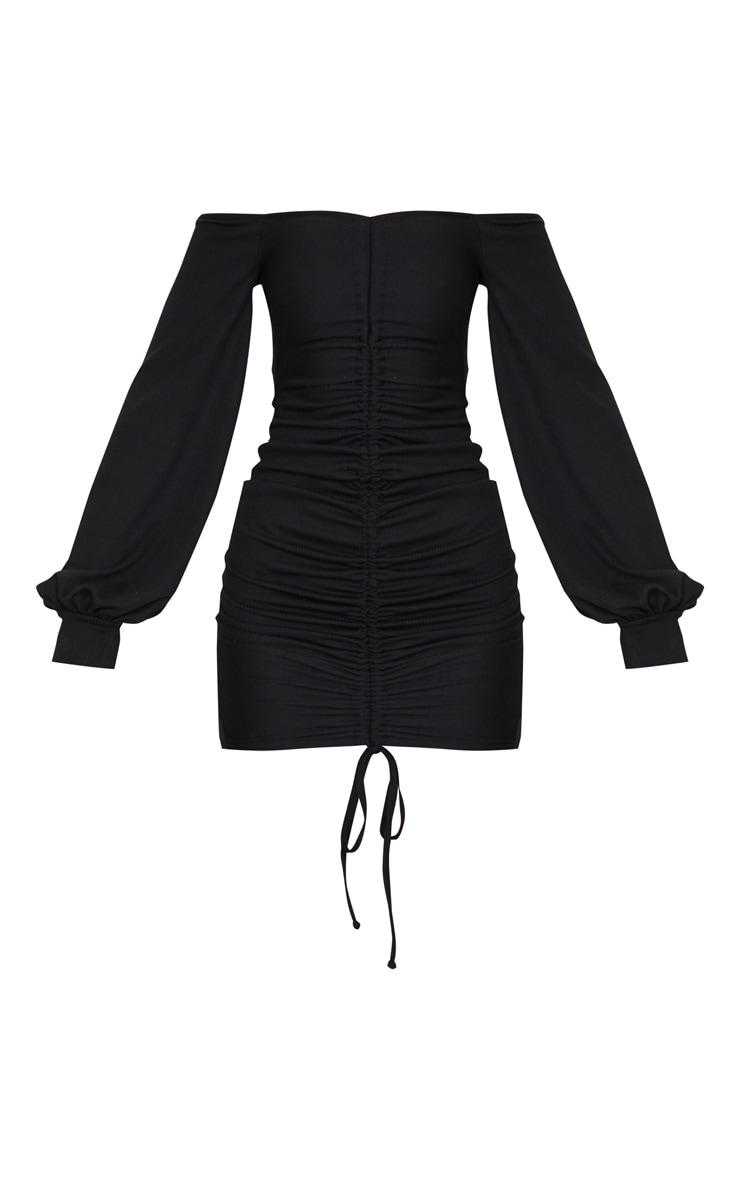 Black Ribbed Bardot Balloon Sleeve Ruched Bodycon Dress 5