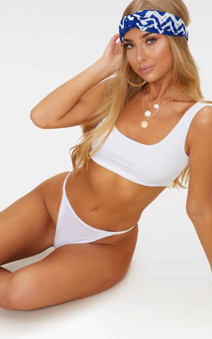White Mix & Match Square Neck Cropped Bikini Top  1