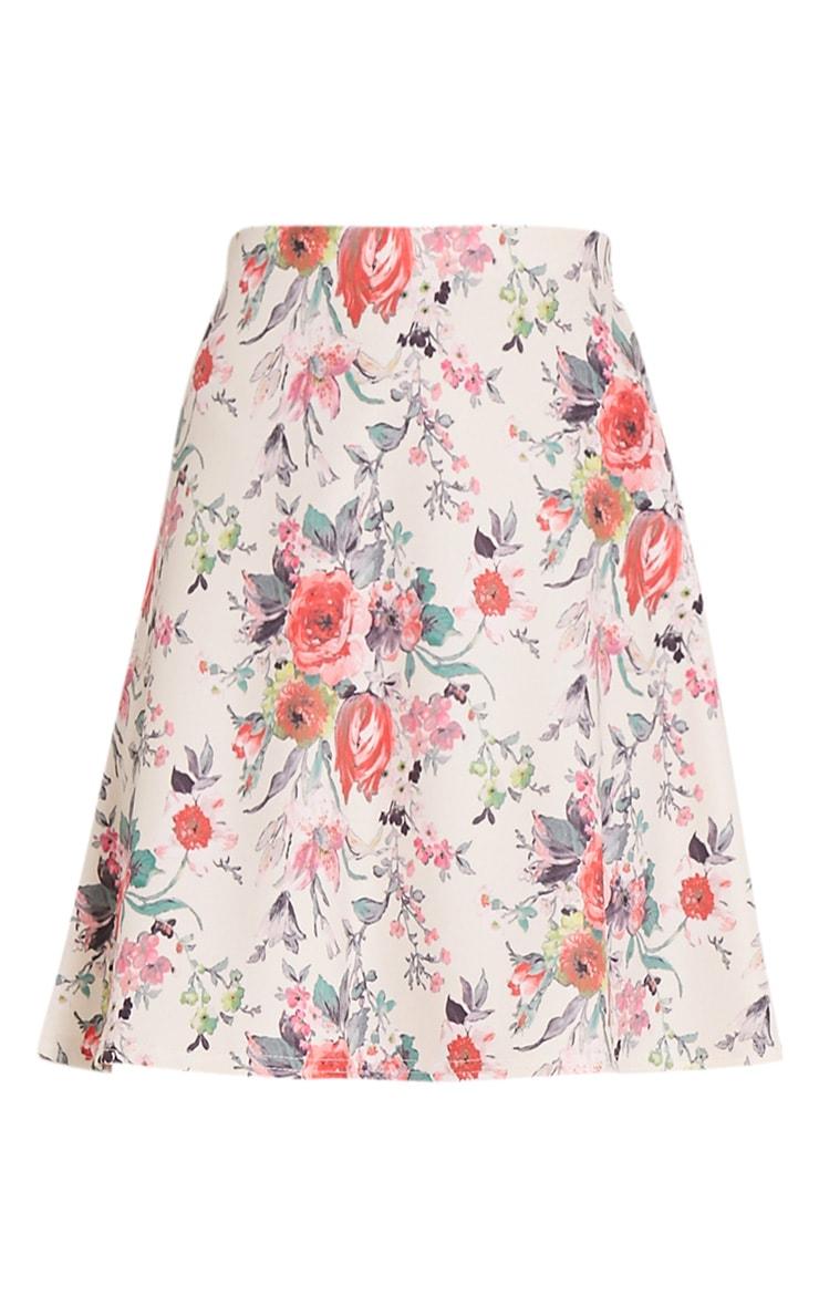 Deltie Coral Floral A-Line Mini Skirt 3