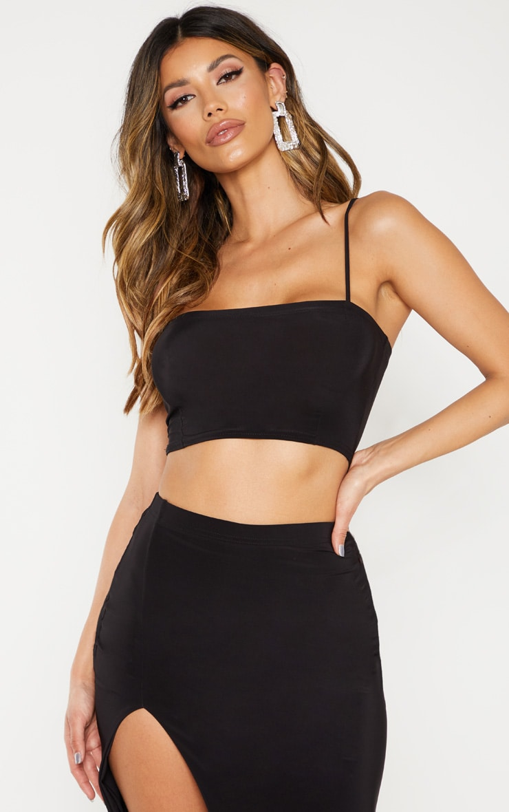Black Slinky Spaghetti Strap Crop Top 1