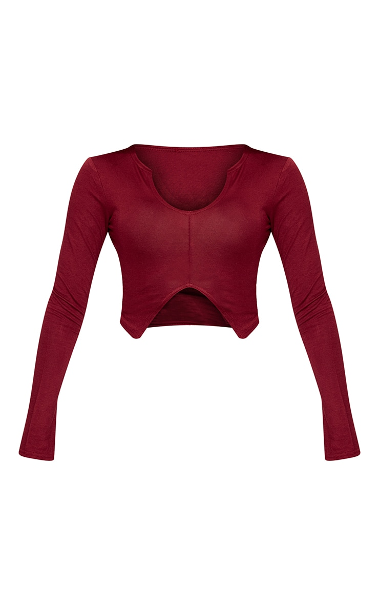 Petite Burgundy Split Front Jersey Crop Top 5
