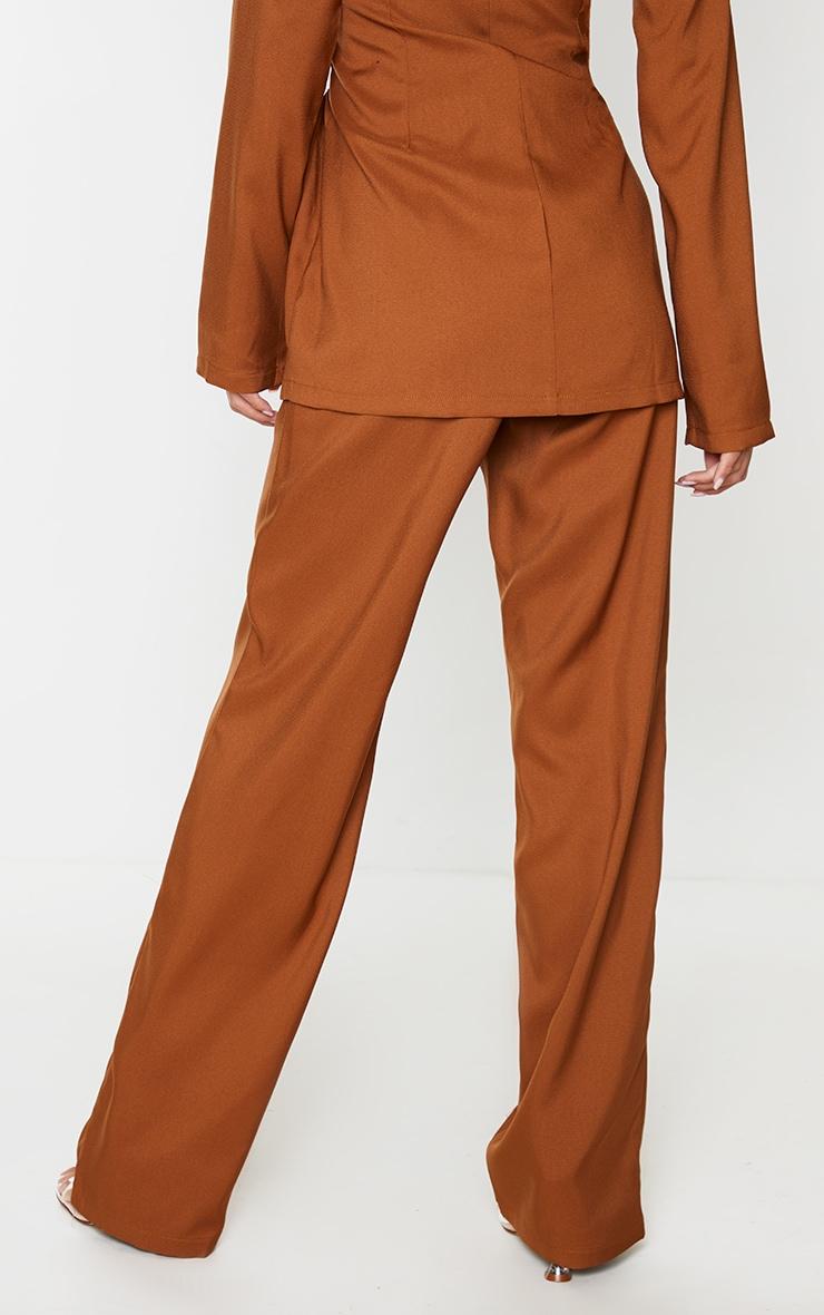 Tan Seam Front High Waist Wide Leg Trousers 4
