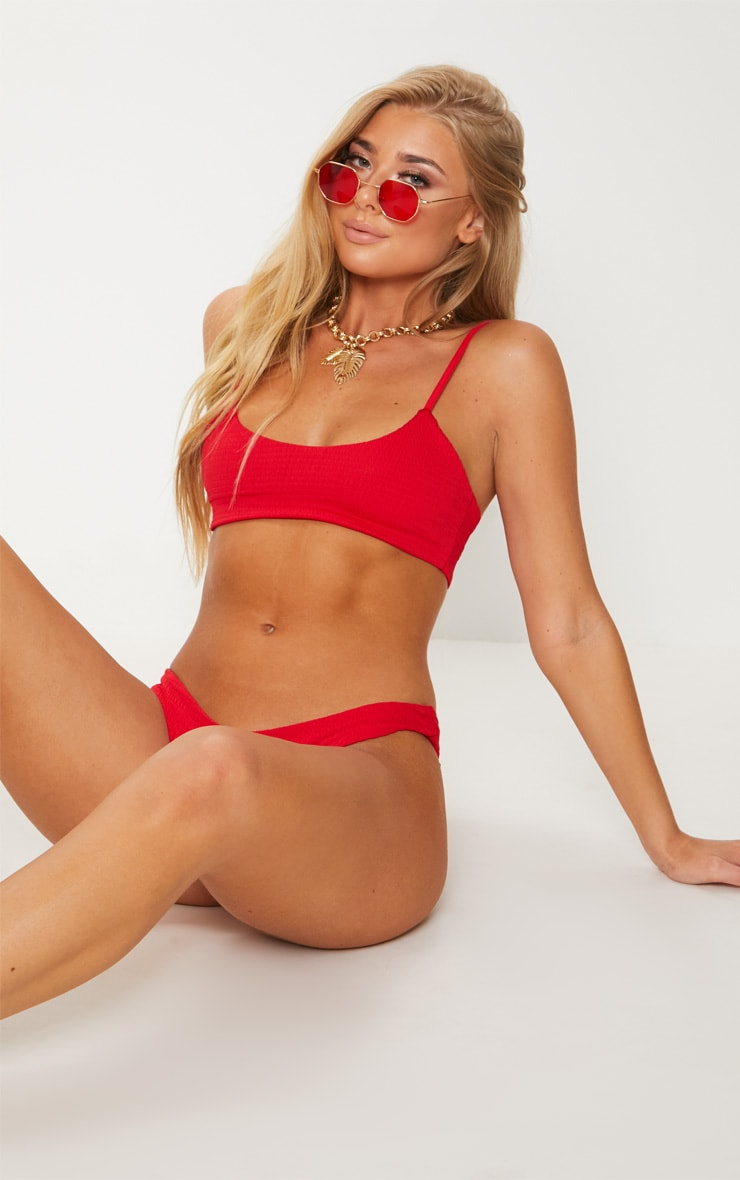 Red Crinkle Scoop Neck Bikini Top 1