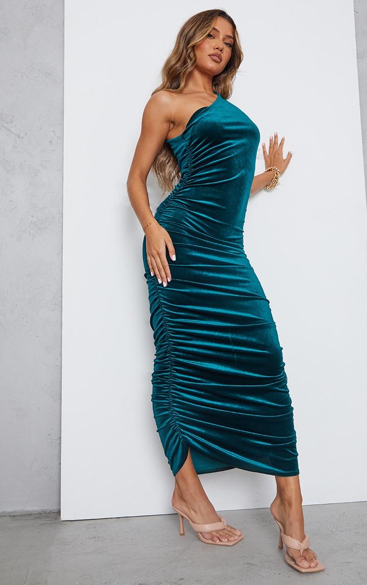 Emerald Green Velvet Shoulder Pad One Shoulder Ruched Midaxi Dress 1