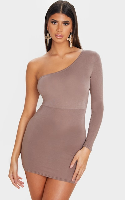 Mocha Jersey One Shoulder Double Back Strap Bodycon Dress
