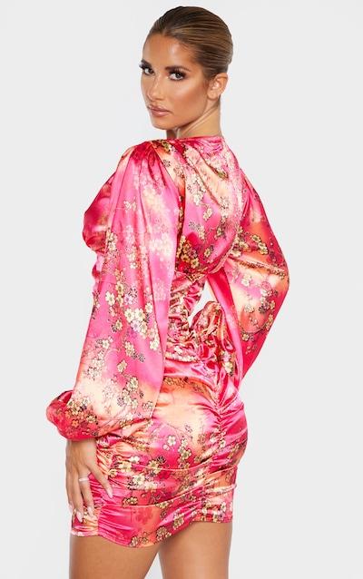 Pink Satin Oriental Print Ruched Balloon Sleeve Bodycon Dress