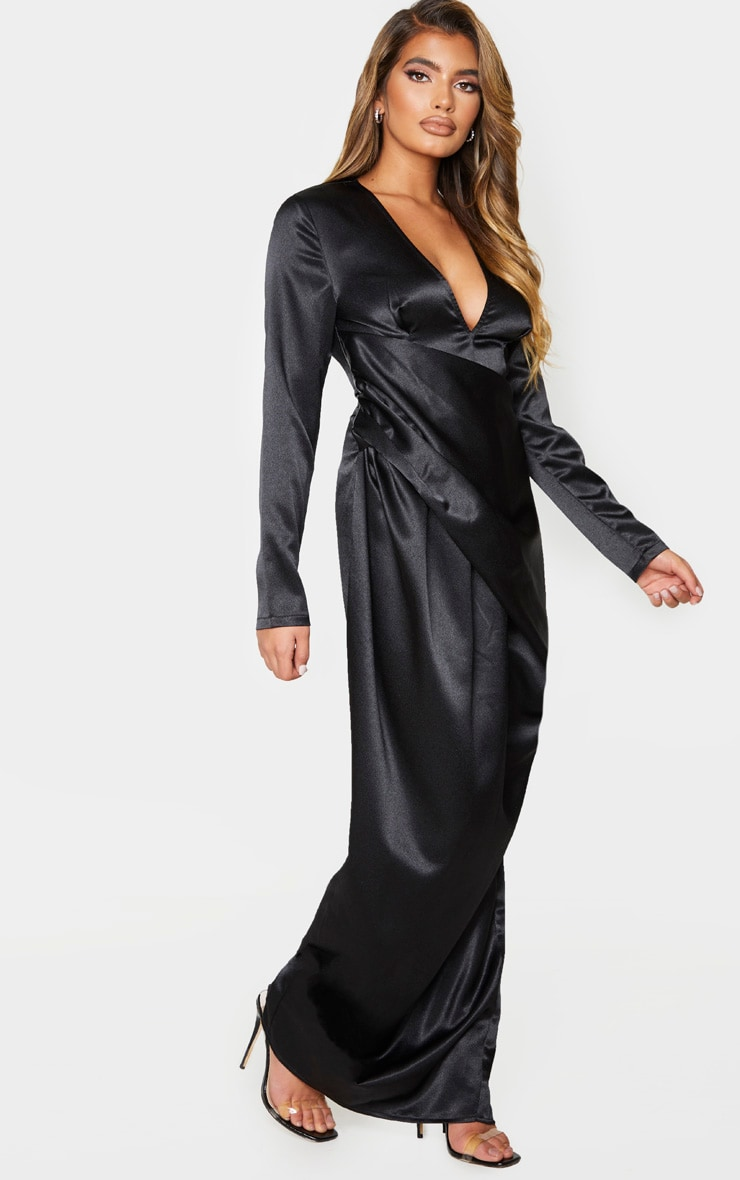 Black Satin Drape Detail Plunge Maxi Dress 3