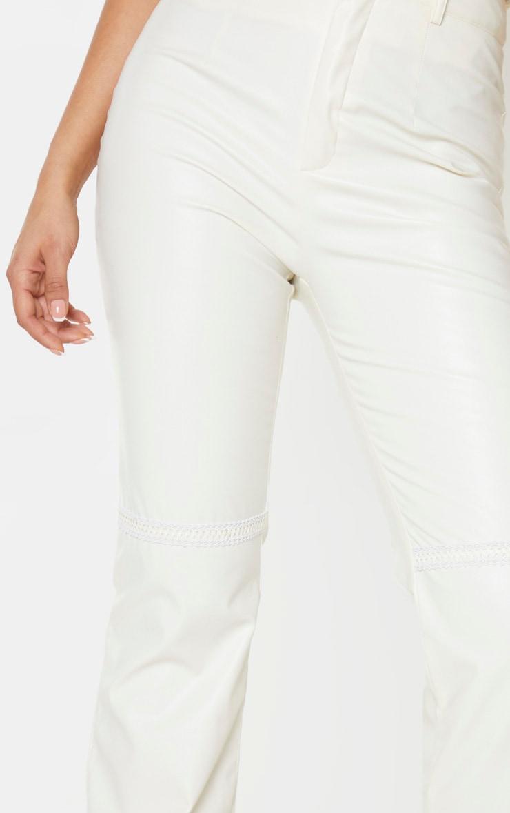Tall White PU Straight Leg Pants 5