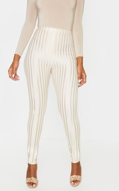 Stone Sheer Stripe Skinny Trouser