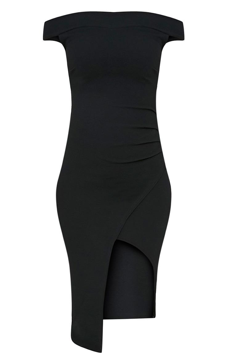 Abbey Black Bardot Wrap Front Crepe Midi Dress 3