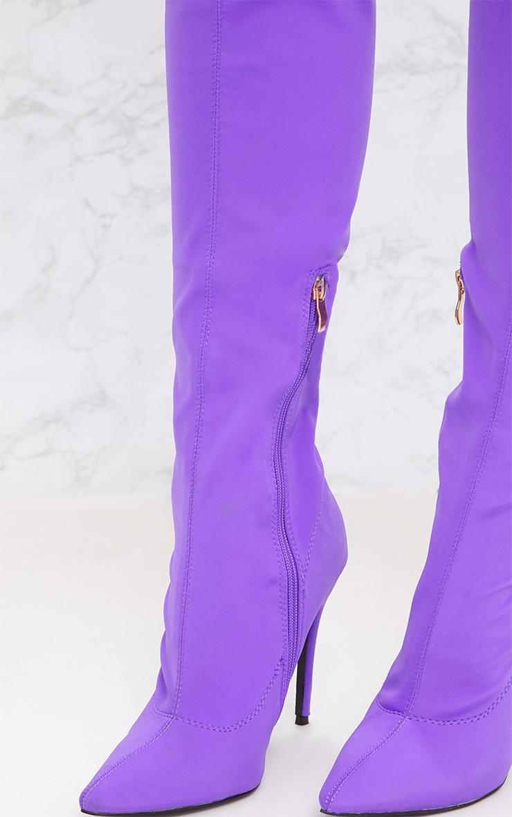 Purple Lycra Thigh High Sock Boot 5