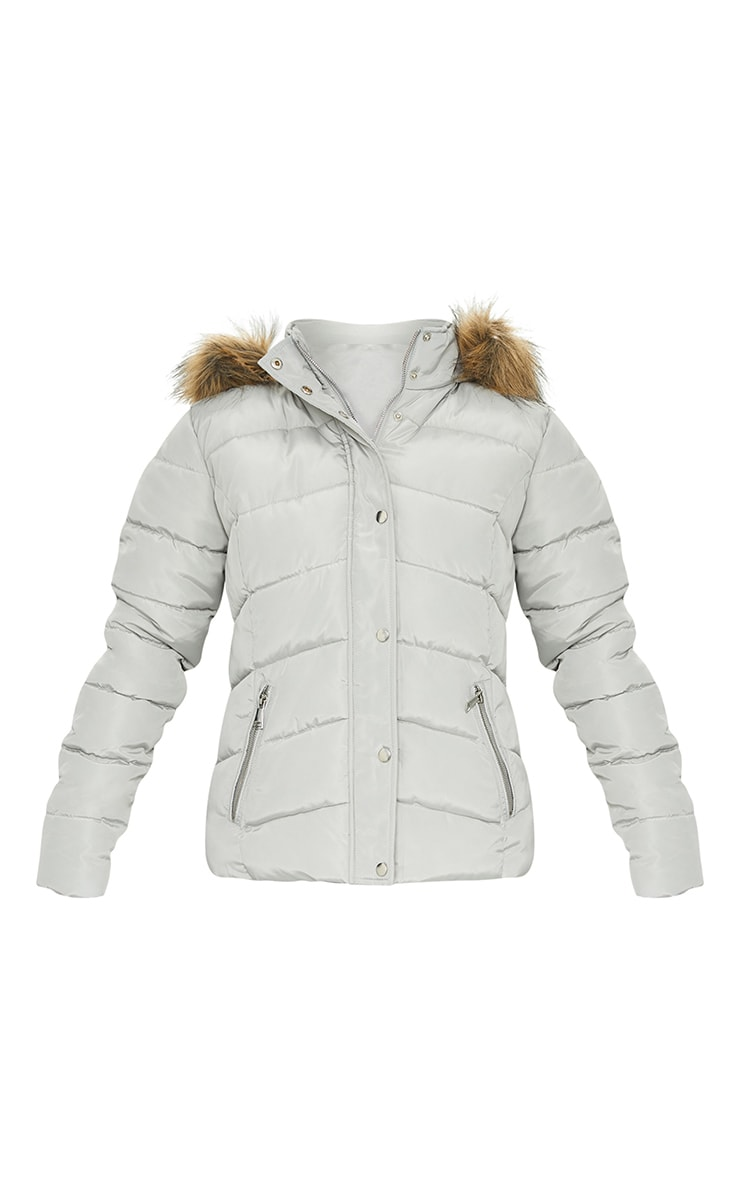 Grey Quilted Mara Faux Fur Hooded Puffer Jacket 5