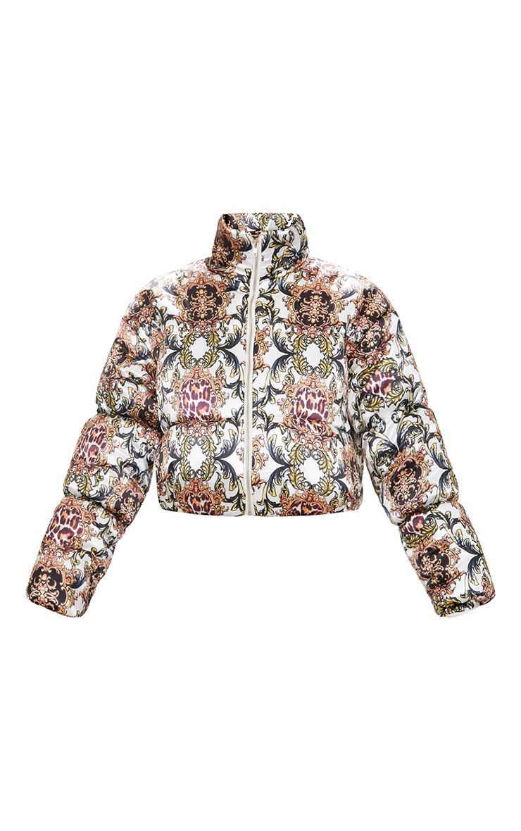 Animal Scarf Printed Satin Puffer Jacket 3
