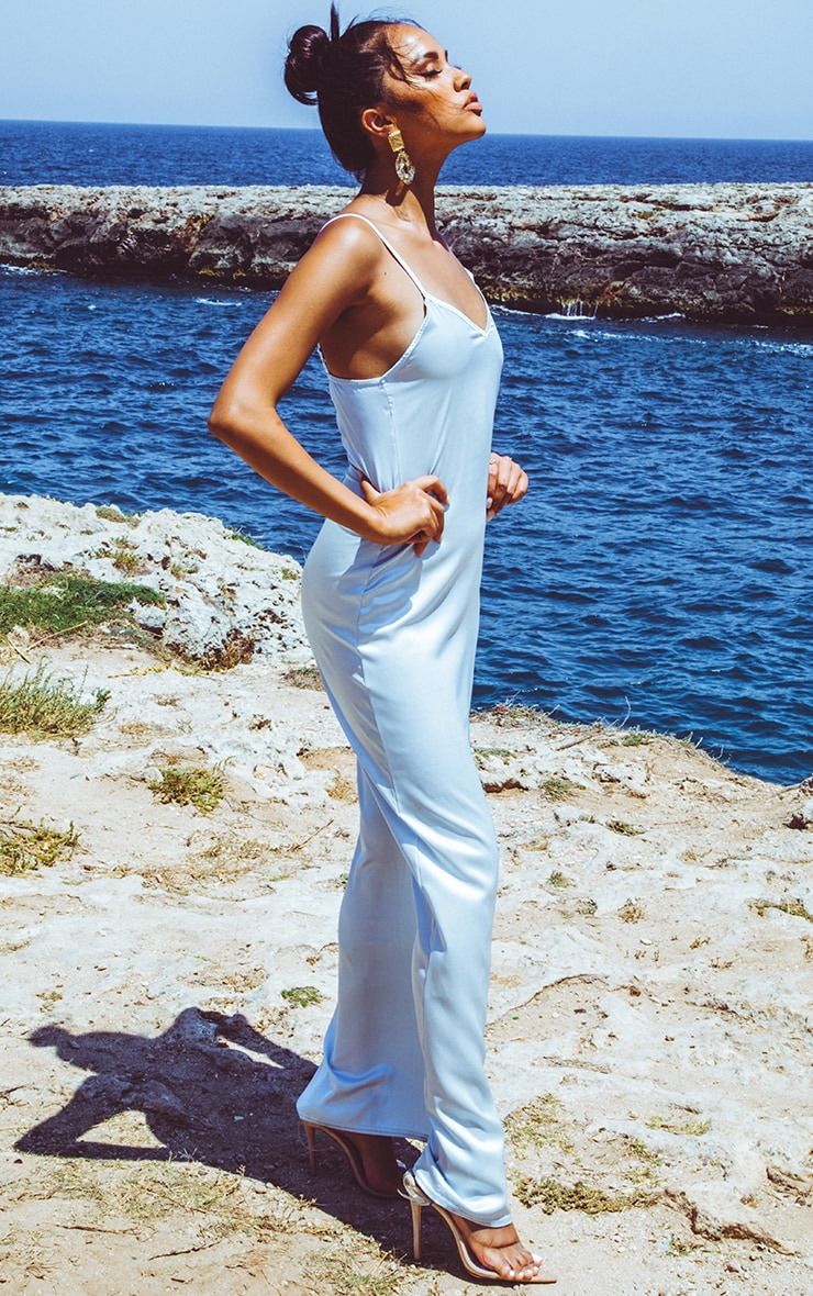 Baby Blue Satin V Neck Maxi Dress 4