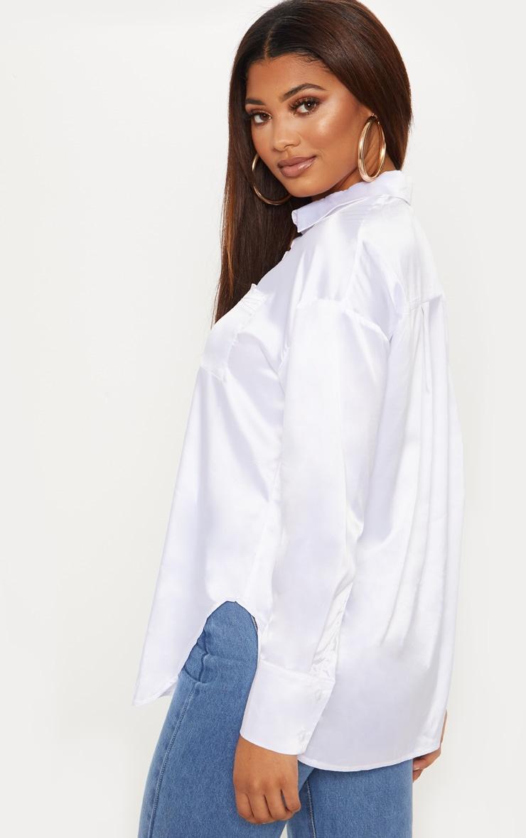 Tall - Chemise satinée blanche à poches 2