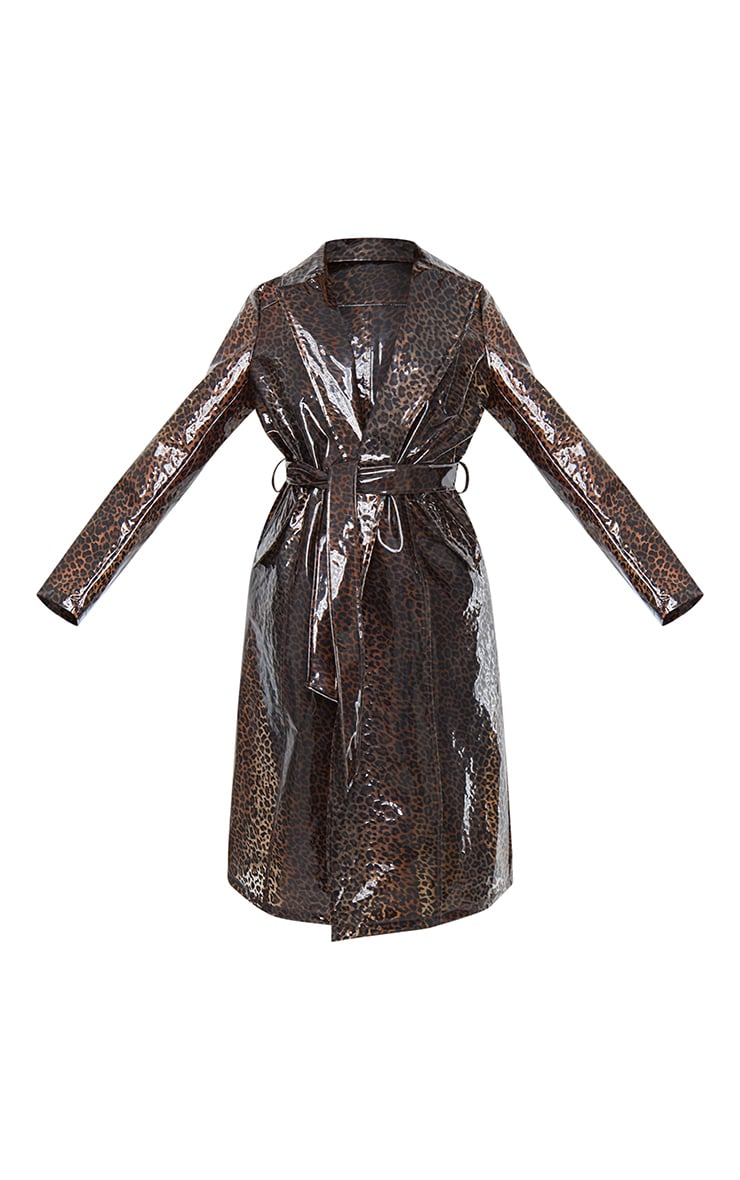 Brown Leopard Print Plastic Trench 5