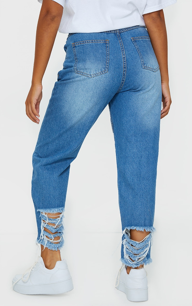 Petite Mid Wash Distressed Denim Cuff Hem Jeans 3