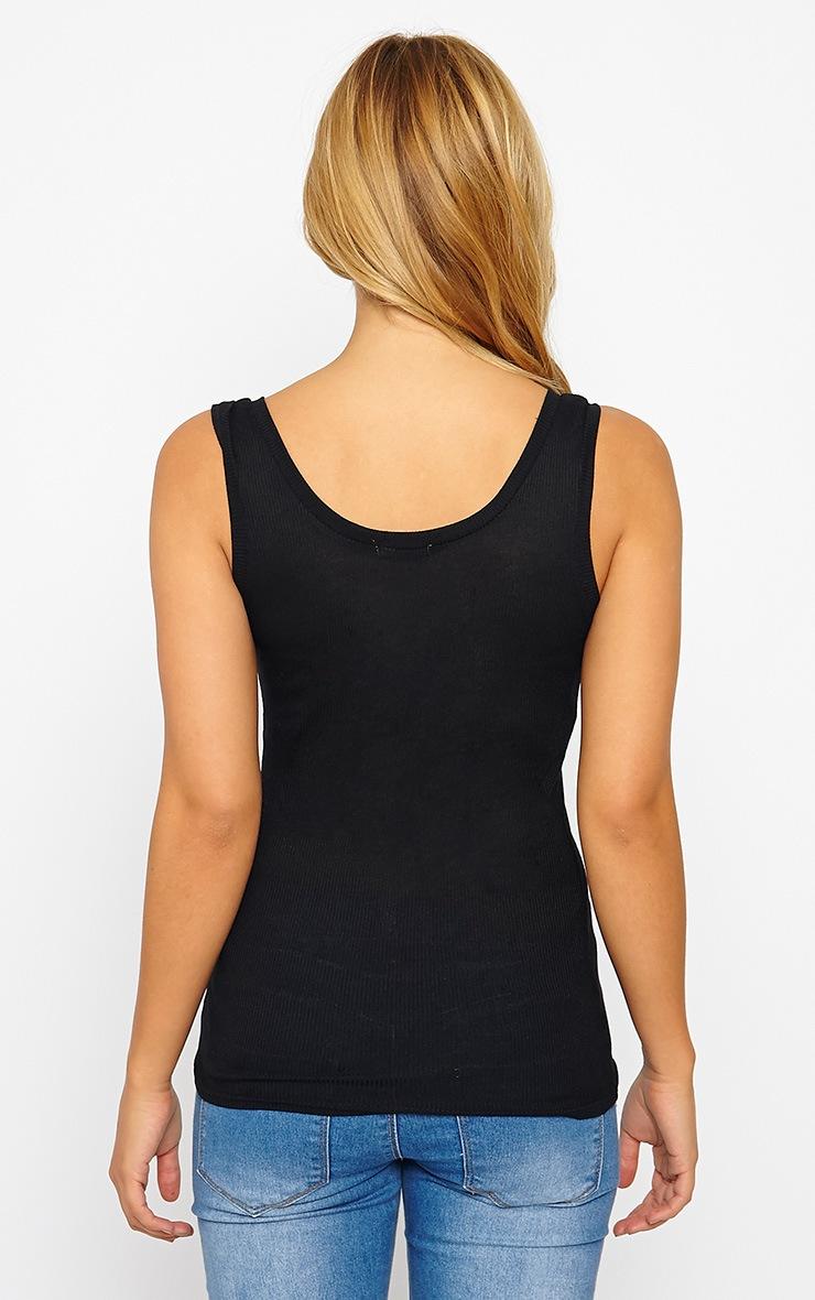 Basic Black Zip front Ribbed Jersey Vest 2