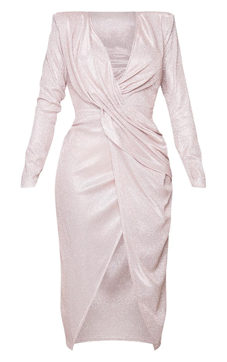 Shape Rose Plunge Front Split Drape Midi Dress 5