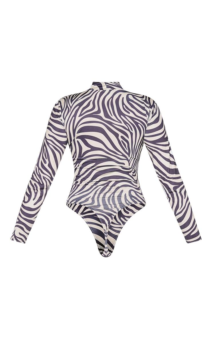 Beige Zebra Print Jersey Draped High Neck Bodysuit 6