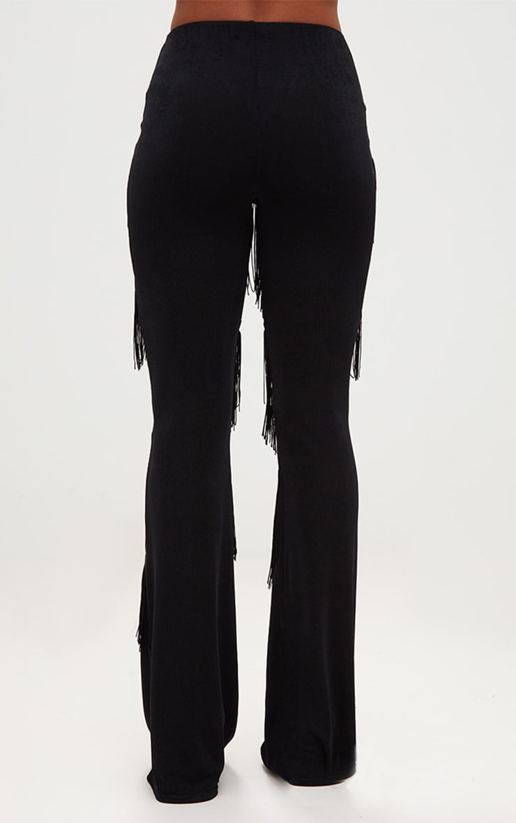 Black Slinky Tiered Fringe Flared Trousers 4