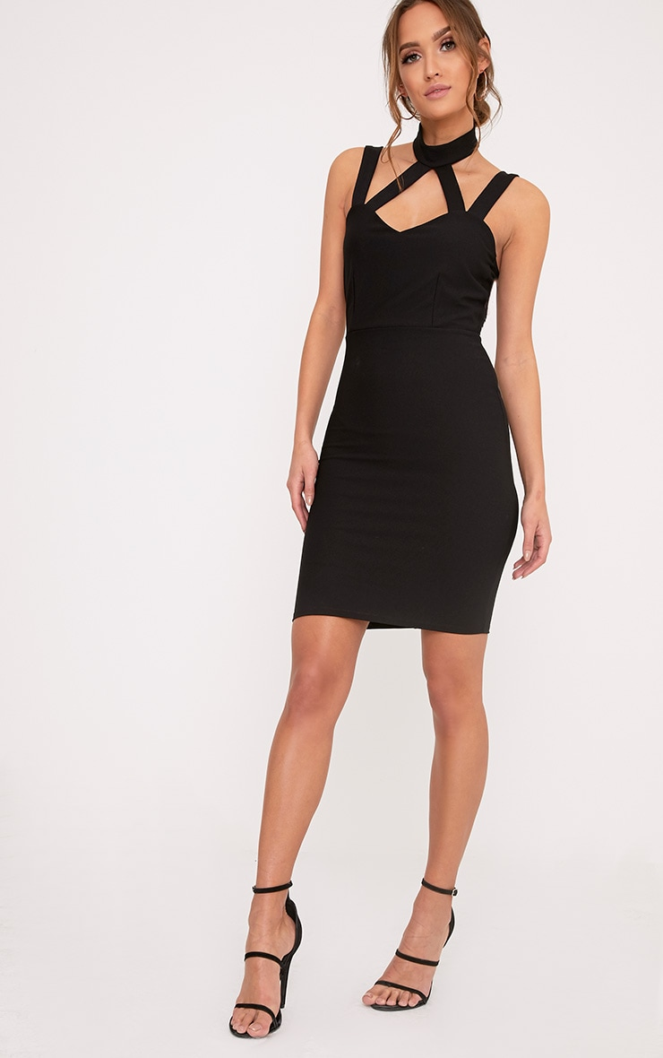 Alsah Black Strap Detail Bodycon Dress 4