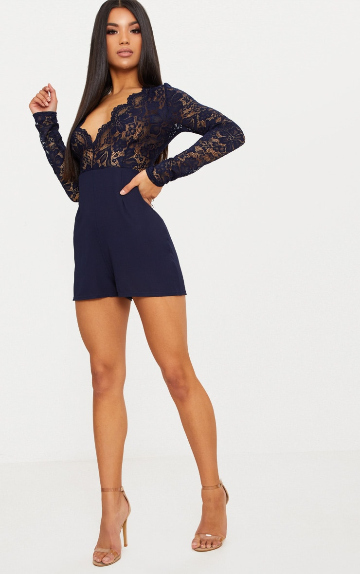 Navy Lace Long Sleeve Plunge Playsuit