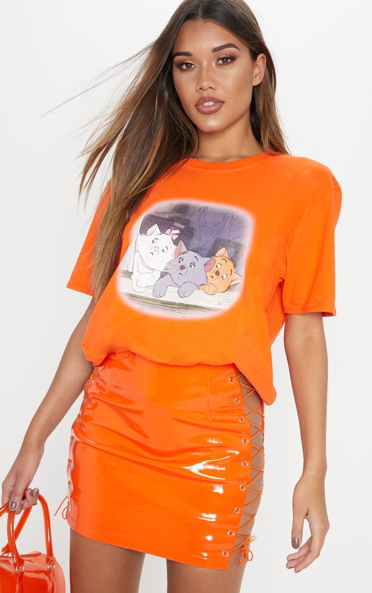 T-shirt orange oversized à imprimé Aristochats 1